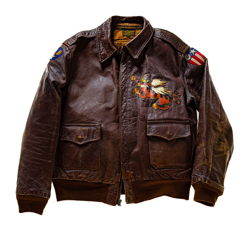 "An A-2 jacket from the China-Burma-India Theatre, with a ""blood chit"" on the back.  Donated in 1963 by Alexander Kaylas, of the 14th Air Force.  Courtesy of the Smithsonian National Air & Space Museum."