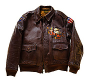 """An A-2 jacket from the China-Burma-India Theatre, with a """"blood chit"""" on the back.  Donated in 1963 by Alexander Kaylas, of the 14th Air Force.  Courtesy of the Smithsonian National Air & Space Museum."""