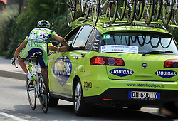 Andrea Noe of Italia (Liquigas) holds a car during 1st stage of the 15th Tour de Slovenie from Ljubljana to Postojna (161 km) , on June 11,2008, Slovenia. (Photo by Vid Ponikvar / Sportal Images)/ Sportida)