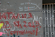 Graffiti on building Buzludzha monument former communist party headquarters, Bulgaria, eastern Europe