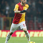 Galatasaray's Emre Colak during their Turkish Super League soccer match Galatasaray between Kardemir Karabukspor at the Turk Telekom Arena at Seyrantepe in Istanbul Turkey on Saturday 14 January 2012. Photo by TURKPIX