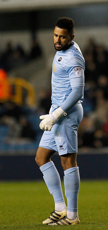 Millwall's Jordan Archer seen during the Sky Bet League 1 match between Millwall and AFC Wimbledon at The Den in London. November 22, 2016.<br /> Carlton Myrie / Telephoto Images<br /> +44 7967 642437