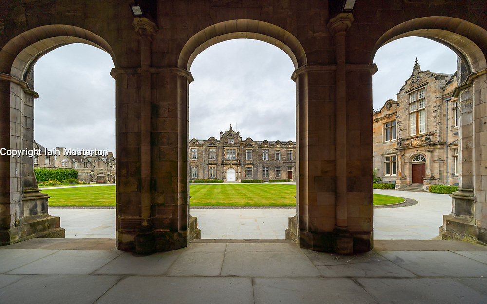 View of St Salvator's Quad ( Quadrangle) at St Andrews University, Fife, Scotland, UK