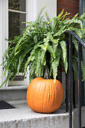 Halloween pumpkin at front door of a home in the Beacon Hill historic district of Boston, Massachusetts, USA