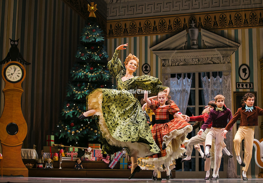 """Cast members participate in the Pacific Northwest Ballet's final full dress rehearsal of George Balanchine's """"The Nutcracker"""" on Wednesday, November 23, 3016, at Seattle Center's McCaw Hall.<br /> <br /> Johnny Andrews / The Seattle Times"""