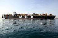 DURBAN - 5 July 2012 - The largest container ship to ever enter a South African port enters the Duran harbour. The MSC Sola weighs in at 131,771 tons and is three-and-a-half rugby fields long. It is capable of carrying 11,660 standard containers when fully laden. Picture: Giordano Stolley/Allied PIcture Press/APP