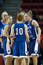 04 February 2006:  ActiveSycamores huddle on the court. The Indiana State Sycamores shook the Illinois State Redbirds from the nest with a 75-71 Victory.  There were 3,581 fans on hand, making the audience the  2nd largest women's basketball crowd ever in Redbird Arena on Illinois State University campus in Normal Illinois.