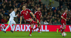 CARDIFF, WALES - Saturday, November 16, 2013: Wales' Sam Ricketts in action against Finland during the International Friendly match at the Cardiff City Stadium. (Pic by David Rawcliffe/Propaganda)