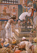 """Joseph and His Brethren Welcomed by Pharaoh Gen. xlv. 16. """"' And the fame thereof was heard in Pharaoh's house, saying, Joseph's brethren are come: and it pleased Pharaoh well, and his servants."""" From the book ' The Old Testament : three hundred and ninety-six compositions illustrating the Old Testament ' Part I by J. James Tissot Published by M. de Brunoff in Paris, London and New York in 1904"""