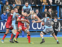 Rugby Union - 2018 / 2019 European Rugby Champions Cup - Pool Three: Cardiff Blues vs. Lyon<br /> <br /> Josh Turnbull, of Cardiff Blues: & Dylan Cretin, of Lyon leaps to take the ball from a kick off, at Cardiff Arms Park.<br /> <br /> COLORSPORT/WINSTON BYNORTH
