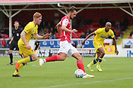 AFC Wimbledon midfielder Alfie Eagan (28) closing down Ebbsfleet united midfielder Jack Powell (7) during the Pre-Season Friendly match between Ebbsfleet and AFC Wimbledon at Stonebridge Road, Ebsfleet, United Kingdom on 29 July 2017. Photo by Matthew Redman.