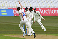 Brydon Carse of Durham celebrates taking the wicket of Ben Duckett of Nottinghamshire during the LV= Insurance County Championship match between Nottinghamshire County Cricket Club and Durham County Cricket Club at Trent Bridge, Nottingham, United Kingdom on 9 April 2021.