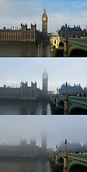 © London News Pictures. 21/01/2014. London, UK.  A montage of images  showing the fog lifting over Westminster Bridge and The Houses of Parliament in London between 07.50am and 10.30am. Photo credit: Ben Cawthra/LNP
