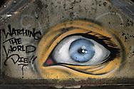 Photo Randy Vanderveen.Yuma, Arizona.A large eye painted on the underside of the Union Pacific rail bridge next to the Ocean to Ocean Bridge over the Colorado River in Yuma Arizona