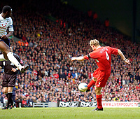 Photo. Jed Wee, Digitalsport<br /> Liverpool v Tottenham Hotspurs, Barclays Premiership, 16/04/2005.<br /> Liverpool's Sami Hyypia strikes a crisp volley to score his team's second equaliser.