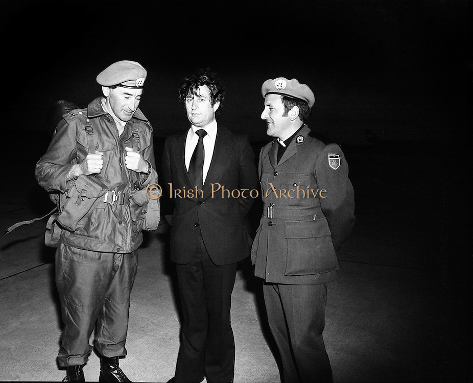 (l-r); Lieut. Col. Eric Guerin, Galway, Officer Commanding, 43rd Battalion; Robert Molloy, TD, Minister for Defence and Fr Michael Kelly, Chaplin, at the departure of troops for UN duty in the Lebanon.<br /> 05/06/1978