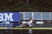 Lucerne, SWITZERLAND  GER M1X Thomas LANGER, 1992 FISA World Cup Regatta, Lucerne. Lake Rotsee.  [Mandatory Credit: Peter Spurrier: Intersport Images] 1992 Lucerne International Regatta and World Cup, Switzerland
