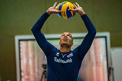 07-05-2019 NED: Press moment national volleyball team Men, Arnhem<br /> Roberto Piazza, the new national coach of the Dutch men's team, gives an overview of the group matches of the Golden European League, the OKT and the European Championship played in their own country. Nimir Abdelazziz
