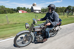 Bill Page of Kansas riding his single-cylinder 1915 Harley-Davidson class-2 motorcyle during the Motorcycle Cannonball Race of the Century. Stage-4 from Chillicothe, OH to Bloomington, IN. USA. Tuesday September 13, 2016. Photography ©2016 Michael Lichter.