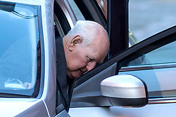"© Licensed to London News Pictures. 10/10/2018. Leeds UK. Former police officer 83 year old David Lomax arrives at Leeds Crown Court this morning. Lomax is accused of raping a woman in 1978 because she was unable to pay a fine. Lomax was in his 40's at the time & worked as a warrant officer with West Yorkshire Police. It is alleged that David Lomax had gone to the woman's address two weeks before the alleged offence to collect payment but had agreed to give her extra time to find the money. He then allegedly returned to on the 20th October but the woman was still unable to pay. The court heard Mr Lomax had told the woman he would have to take her to the police station but then put his hand on her shoulder and said: ""Well we could solve this."" He then allegedly led the woman into her bedroom & raped her against a wall before leaving. The court heard the woman reported it to police several days later and a DNA sample was retrieved from a towel. Jurors at Leeds Crown Court were told Mr Lomax, was charged after his DNA profile was matched in a cold case review in 2016. Photo credit: Andrew McCaren/LNP"