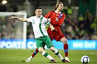Football - International Friendly - Republic Of Ireland vs. Czech Republic<br /> <br /> Robbie Keane, Ireland, in action against, Jaroslav Plasil, Czech Republic, at Aviva Stadium, Dublin.