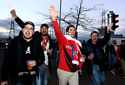 Sevilla fans arrive at The King Power Stadium ahead of the Champions League fixture between Leicester City and Sevilla - Mandatory by-line: Robbie Stephenson/JMP - 14/03/2017 - FOOTBALL - King Power Stadium - Leicester, England - Leicester City v Sevilla - UEFA Champions League round of 16, second leg