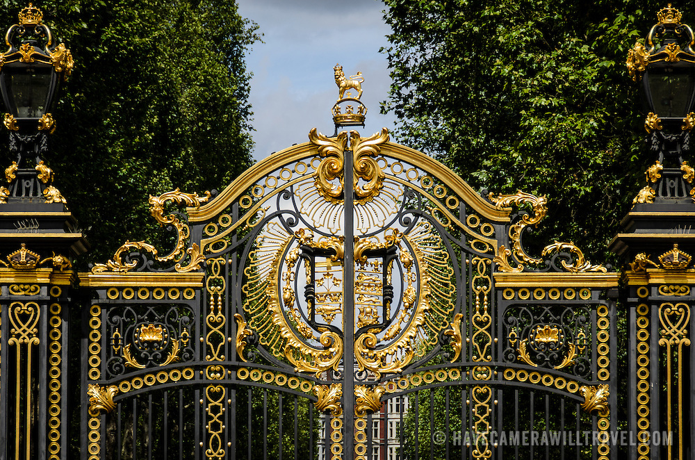 The ornate gates of Green Park near Buckingham Palace in London.