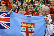 Fiji rugby fans during the Rugby World Cup Pool A match between Wales and Fiji at Millenium Stadium, Cardiff, Wales on 1 October 2015. Photo by Shane Healey.
