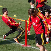 Galatasaray's players Sabri SARIOGLU (L) and Emre COLAK (R) during their training session at the Jupp Derwall training center, Thursday, January 20, 2011. Photo by TURKPIX