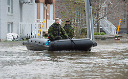 Members of the Canadian Forces drive their boat down a street in Gatineau, Quebec, Canada., Monday, May 8, 2017. Photo by Adrian Wyld /The Canadian Press/ABACAPRESS.COM