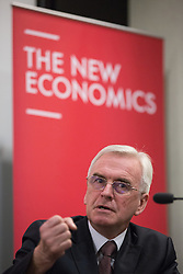 "© Licensed to London News Pictures . 20/04/2016 . Manchester , UK . Shadow Chancellor JOHN MCDONNELL hosts a lecture by former Newsnight and Channel 4 Economics editor , Paul Mason , entitled "" Economic policy amid global slowdown - A view from the North "" , chaired by Salford MP Rebecca Long Bailey , at the Manchester Conference Centre & Pendulum Hotel . Photo credit: Joel Goodman/LNP"