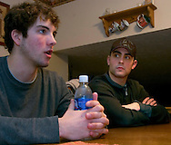 1/4/07 -- Omaha, NE<br />  -- USHL player Jack Downing talks while  Nick Petrecki listens at their host family's house.<br /> <br /> Photo by Chris Machian, Prairie Pixel Group