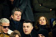 Benjamin Biolay french singer and Isabelle Hupert french actress during the French Championship Ligue 1 football match between Paris Saint-Germain and Olympique de Marseille on february 25, 2018 at Parc des Princes stadium in Paris, France - Photo Pierre Charlier / ProSportsImages / DPPI