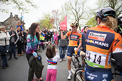Lizzie Deignan (GBR) of Boels-Dolmans Cycling Team celebrates with her niece, Amelia (m) and with her sister (l), Kate after winning the Tour de Yorkshire - a 122.5 km road race, between Tadcaster and Harrogate on April 29, 2017, in Yorkshire, United Kingdom.