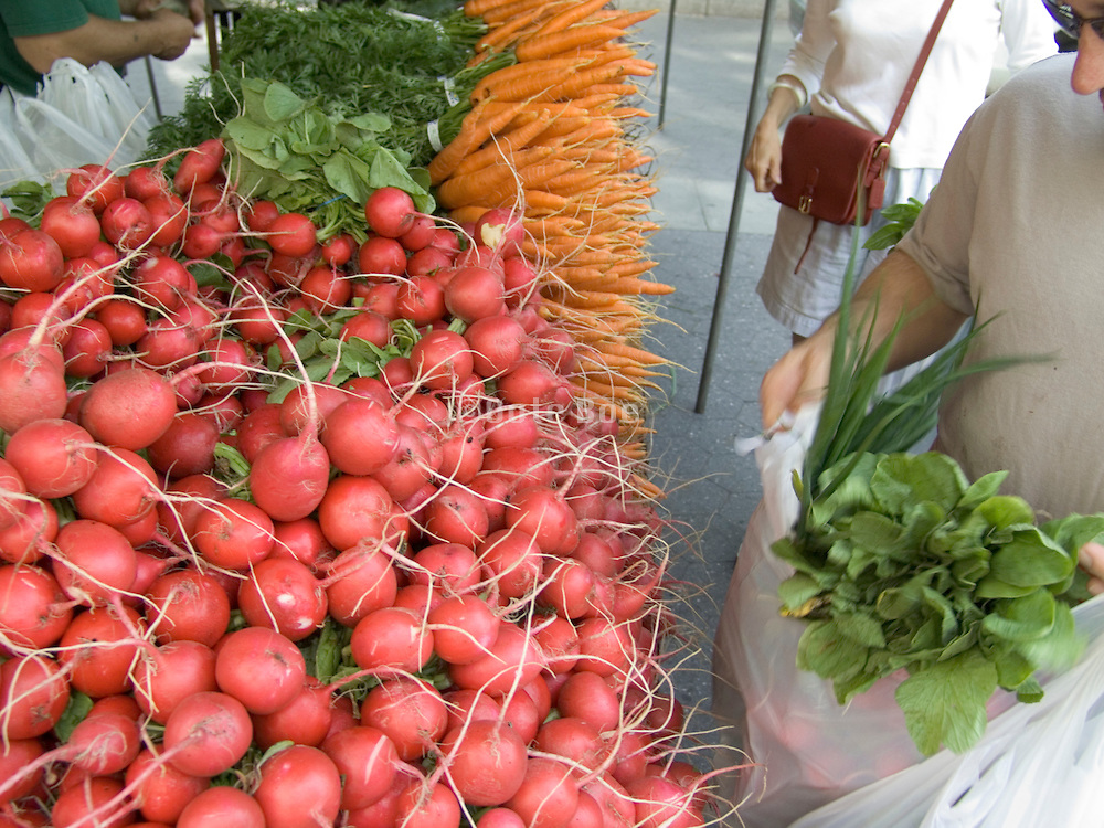 organic radish and carrots displayed at a green market