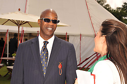 Athlete EDWIN MOSES at the Cartier Queen's Cup Polo Final, Guards Polo Club, Windsor Great Park, Berkshire, on 17th June 2012.