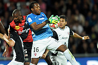 Moustapha Elhadji DIALLO of EAG against Anthony MFA MEZUI of Fc Metz during the French Championship L1 football match EA Guingamp vs FC Metz on September 24, 2014 at Roudourou stadium in Guingamp . Photo Pascal Allée / Hot sports / DPPI