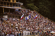 Bled, Slovenia, YUGOSLAVIA.  General View of the Rowing Course, Grandstands, used for the 1989 World Rowing Championships, Lake Bled. [Mandatory Credit. Peter Spurrier/Intersport Images]