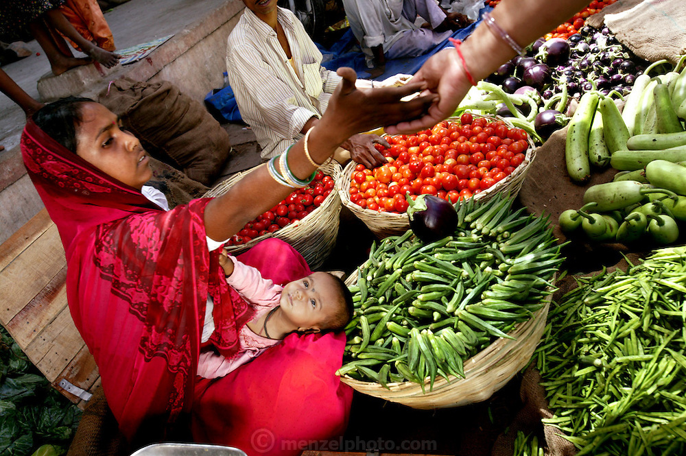The Patkars shop for vegetables and fruit at Ujjain India's sprawling main market. Here they are buying okra and tomatoes. Hungry Planet: What the World Eats (p. 170). The Patkar family of Ujjain, Madhya Pradesh, India, is one of the thirty families featured, with a weeks' worth of food, in the book Hungry Planet: What the World Eats.