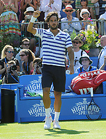 Tennis - 2017 Aegon Championships [Queen's Club Championship] - Day Two, Monday<br /> <br /> Men's Singles, Round of 32<br /> Feliciano Lopez [Spain] vs. Stan Wawrinka [Sui]<br /> <br /> Feliciano Lopez salutes the crowd after winning his match on Centre Court <br /> <br /> COLORSPORT/ANDREW COWIE