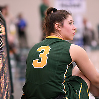 1st year point guard Lauryn Prokop (3) of the Regina Cougars in action during the Women's Basketball Playoff Game on February  16 at Centre for Kinesiology, Health and Sport. Credit: Arthur Ward/Arthur Images