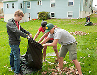(Karen Bobotas/for the Laconia Daily Sun)Laconia High School National Honor Society students participate in their annual Spring clean up day around the city of Laconia May 12, 2011.