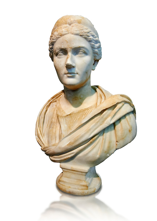 Roman portrait bust of Sabina, circa 135 AD excavated from the via Appia, Rome. . The National Roman Museum, Rome, Italy .<br /> <br /> If you prefer to buy from our ALAMY PHOTO LIBRARY  Collection visit : https://www.alamy.com/portfolio/paul-williams-funkystock/roman-museum-rome-sculpture.html<br /> <br /> Visit our ROMAN ART & HISTORIC SITES PHOTO COLLECTIONS for more photos to download or buy as wall art prints https://funkystock.photoshelter.com/gallery-collection/The-Romans-Art-Artefacts-Antiquities-Historic-Sites-Pictures-Images/C0000r2uLJJo9_s0