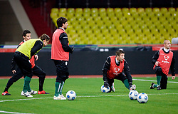 Bojan Jokic, Bostjan Cesar, Miso Brecko at practice of Slovenian team a day before FIFA World Cup 2010 Qualifying match between Russia and Slovenia, on November 13, 2009, in Stadium Luzhniki, Moscow, Russia.  (Photo by Vid Ponikvar / Sportida)