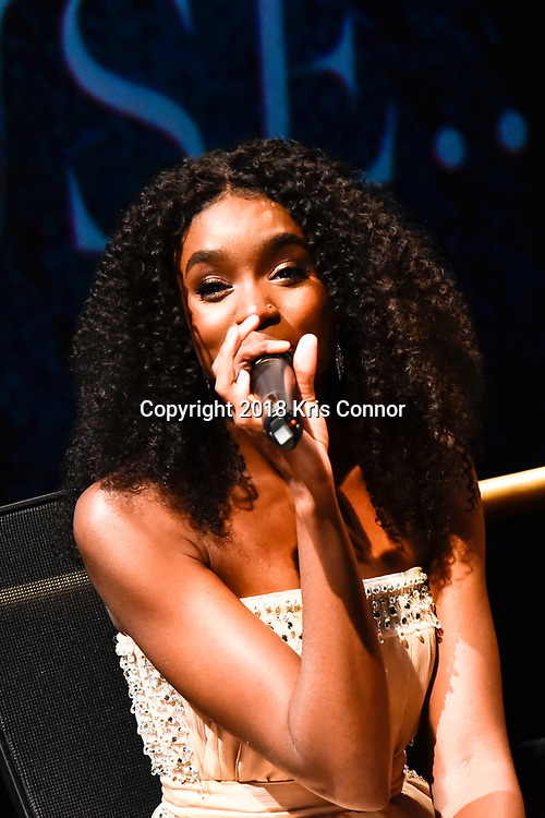 """WASHINGTON, DC - OCTOBER 27: Actress KiKi Layne speaks during the closing night screening of """"IF BEALE STREET COULD TALK"""" at the inaugural Smithsonian African American Film Festival 2018 at National Air and Space Museum in Washington DC on October 27th, 2018. (Photo by Kris Connor/Annapurna Pictures)"""