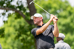May 4, 2019 - Charlotte, NC, U.S. - CHARLOTTE, NC - MAY 04: Lucas Glover watches his shot on the 4th hole  during the third round of the Wells Fargo Championship at Quail Hollow on May 4, 2019 in Charlotte, NC. (Photo by William Howard/Icon Sportswire) (Credit Image: © William Howard/Icon SMI via ZUMA Press)
