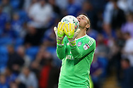 Brian Murphy, the Cardiff city goalkeeper in action. Carabao Cup 2nd round match, Cardiff city v Burton Albion at the Cardiff City Stadium in Cardiff, South Wales on Tuesday 22nd August  2017.<br /> pic by Andrew Orchard, Andrew Orchard sports photography.