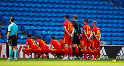 CARDIFF, WALES - Sunday, September 6, 2020: Wales players line-up for a team group photograph with no photographers in front of empty seats before the UEFA Nations League Group Stage League B Group 4 match between Wales and Bulgaria at the Cardiff City Stadium. (Pic by David Rawcliffe/Propaganda)