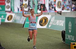 10062018 (Durban) A position 9th Carla Molinaro run towards the finnish line during the 2018 Comrades marathon in Durban.Picture: Motshwari Mofokeng/ANA