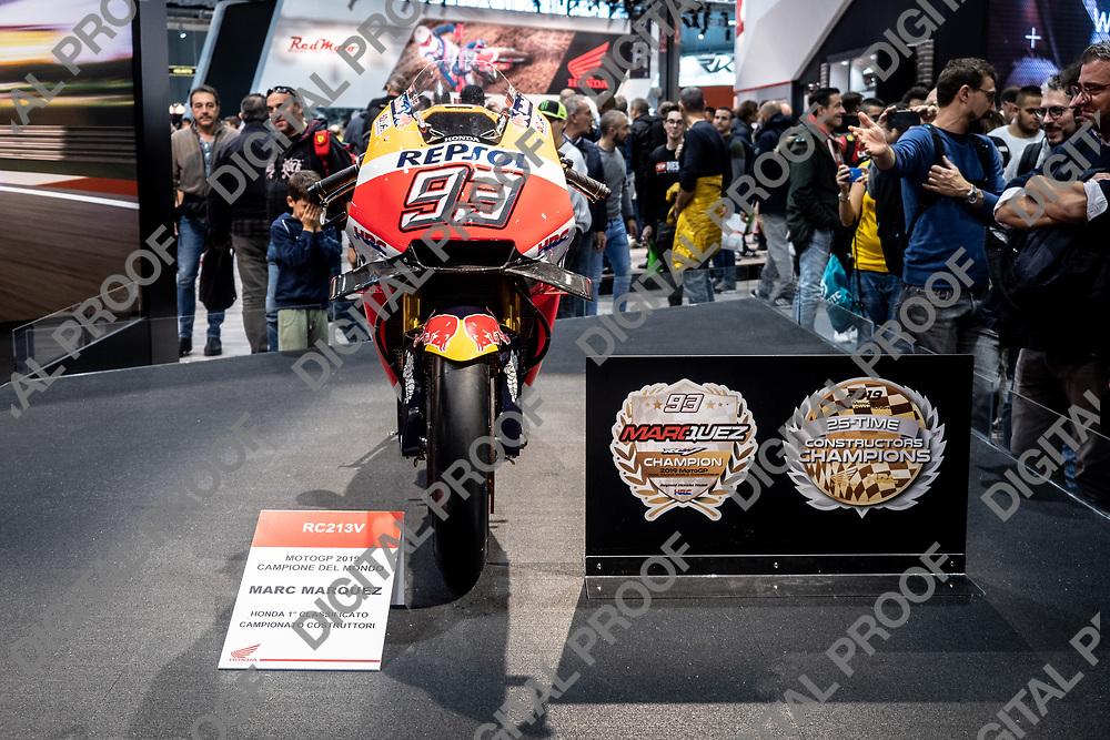 RHO Fieramilano, Milan Italy - November 07, 2019 EICMA Expo. Honda motorcycle RC213V from MotoGP championship 2019 in exhibit at EICMA 2019